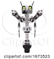 Robot Containing Dual Retro Camera Head And Cyborg Antenna Head And Light Chest Exoshielding And Minigun Back Assembly And No Chest Plating And Unicycle Wheel White Halftone Toon Front View