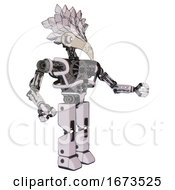 Cyborg Containing Bird Skull Head And White Eyeballs And Bird Feather Design And Heavy Upper Chest And No Chest Plating And Prototype Exoplate Legs White Halftone Toon Interacting