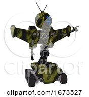 Mech Containing Digital Display Head And Hashtag Face And Retro Antennas And Light Chest Exoshielding And Stellar Jet Wing Rocket Pack And No Chest Plating And Six Wheeler Base Grunge Army Green