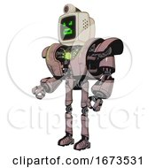 Automaton Containing Old Computer Monitor And Angry Pixels Face And Retro Futuristic Webcam And Heavy Upper Chest And Heavy Mech Chest And Green Energy Core And Ultralight Foot Exosuit