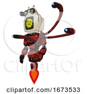 Robot Containing Old Computer Monitor And Yellow Sad Pixel Face And Old Computer Magnetic Tape And Light Chest Exoshielding And Rubber Chain Sash And Blue Eye Cam Cable Tentacles And Jet Propulsion