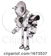 Bot Containing Dual Retro Camera Head And Satellite Dish Head And Heavy Upper Chest And Heavy Mech Chest And Shoulder Spikes And Ultralight Foot Exosuit White Halftone Toon Facing Right View