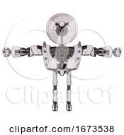 Bot Containing Dual Retro Camera Head And Satellite Dish Head And Heavy Upper Chest And Heavy Mech Chest And Shoulder Spikes And Ultralight Foot Exosuit White Halftone Toon T Pose