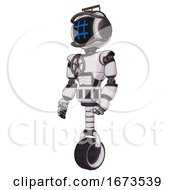 Bot Containing Digital Display Head And Hashtag Face And Led And Protection Bars And Light Chest Exoshielding And Chest Valve Crank And Unicycle Wheel White Halftone Toon Facing Right View