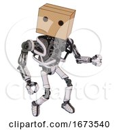 Android Containing Dual Retro Camera Head And Cardboard Box Head And Heavy Upper Chest And No Chest Plating And Ultralight Foot Exosuit White Halftone Toon Fight Or Defense Pose