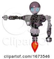 Cyborg Containing Grey Alien Style Head And Blue Grate Eyes And Heavy Upper Chest And No Chest Plating And Jet Propulsion Lilac Metal Arm Out Holding Invisible Object