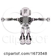 Bot Containing Round Head And Three Lens Sentinel Visor And Head Light Gadgets And Heavy Upper Chest And No Chest Plating And Light Leg Exoshielding And Stomper Foot Mod White Halftone Toon T Pose