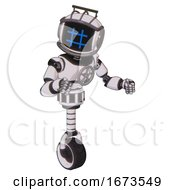 Bot Containing Digital Display Head And Hashtag Face And Led And Protection Bars And Light Chest Exoshielding And Chest Valve Crank And Unicycle Wheel White Halftone Toon Fight Or Defense Pose