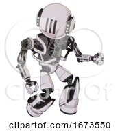 Bot Containing Round Head And Three Lens Sentinel Visor And Head Light Gadgets And Heavy Upper Chest And No Chest Plating And Light Leg Exoshielding And Stomper Foot Mod White Halftone Toon