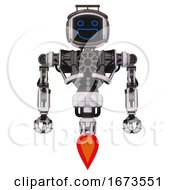 Cyborg Containing Digital Display Head And Wide Smile And Led And Protection Bars And Heavy Upper Chest And No Chest Plating And Jet Propulsion White Halftone Toon Front View