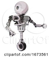 Automaton Containing Round Head And Heavy Upper Chest And No Chest Plating And Unicycle Wheel White Halftone Toon Interacting