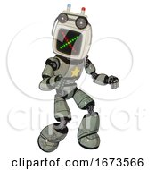 Bot Containing Old Computer Monitor And Colored X Display And Old Computer Magnetic Tape And Light Chest Exoshielding And Yellow Star And Light Leg Exoshielding Green Metal Fight Or Defense Pose