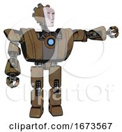 Android Containing Humanoid Face Mask And Heavy Upper Chest And Heavy Mech Chest And Blue Energy Fission Element Chest And Prototype Exoplate Legs Old Copper Pointing Left Or Pushing A Button