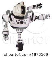 Droid Containing Old Computer Monitor And Retro Futuristic Webcam And Heavy Upper Chest And Chest Compound Eyes And Unicycle Wheel White Halftone Toon Pointing Left Or Pushing A Button