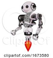 Cyborg Containing Oval Wide Head And Beady Black Eyes And Heavy Upper Chest And No Chest Plating And Jet Propulsion White Halftone Toon Facing Right View