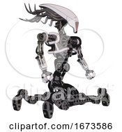 Bot Containing Flat Elongated Skull Head And Cables And Heavy Upper Chest And No Chest Plating And Insect Walker Legs White Halftone Toon Facing Left View