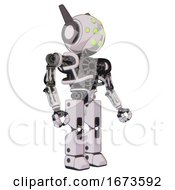 Bot Containing Round Head And Green Eyes Array And Head Winglets And Heavy Upper Chest And No Chest Plating And Prototype Exoplate Legs White Halftone Toon Facing Left View
