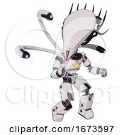 Android Containing Flat Elongated Skull Head And Cables And Light Chest Exoshielding And Yellow Star And Blue Eye Cam Cable Tentacles And Prototype Exoplate Legs White Halftone Toon