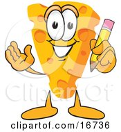 Clipart Picture Of A Wedge Of Orange Swiss Cheese Mascot Cartoon Character Holding A Yellow Number 2 Pencil With An Eraser Tip by Toons4Biz