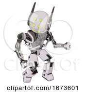 Bot Containing Round Head And Green Eyes Array And Head Winglets And Heavy Upper Chest And No Chest Plating And Prototype Exoplate Legs White Halftone Toon Fight Or Defense Pose