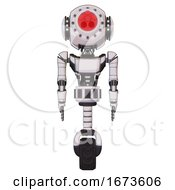Robot Containing Round Head And Red Laser Crystal Array And Head Light Gadgets And Light Chest Exoshielding And Ultralight Chest Exosuit And Unicycle Wheel White Halftone Toon Front View