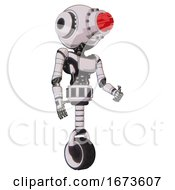 Robot Containing Round Head And Red Laser Crystal Array And Head Light Gadgets And Light Chest Exoshielding And Ultralight Chest Exosuit And Unicycle Wheel White Halftone Toon Facing Left View