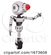 Robot Containing Round Head And Red Laser Crystal Array And Head Light Gadgets And Light Chest Exoshielding And Ultralight Chest Exosuit And Unicycle Wheel White Halftone Toon