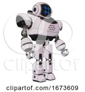 Cyborg Containing Digital Display Head And Hashtag Face And Heavy Upper Chest And Prototype Exoplate Legs White Halftone Toon Facing Left View