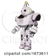 Robot Containing Oval Wide Head And Minibot Ornament And Heavy Upper Chest And Prototype Exoplate Legs White Halftone Toon Facing Right View