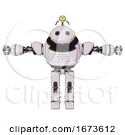 Robot Containing Oval Wide Head And Minibot Ornament And Heavy Upper Chest And Prototype Exoplate Legs White Halftone Toon T Pose