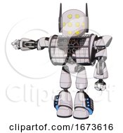 Automaton Containing Round Head And Yellow Eyes Array And Head Winglets And Heavy Upper Chest And Heavy Mech Chest And Barbed Wire Chest Armor Cage And Light Leg Exoshielding
