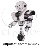 Bot Containing Round Head And Heavy Upper Chest And Heavy Mech Chest And Unicycle Wheel And Cat Face White Halftone Toon Facing Right View