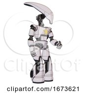 Droid Containing Flat Elongated Skull Head And Light Chest Exoshielding And Yellow Star And Light Leg Exoshielding And Stomper Foot Mod White Halftone Toon Facing Left View
