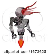 Automaton Containing Bright Red Jellyfish Tentacles Fiber Optic Design And Heavy Upper Chest And No Chest Plating And Jet Propulsion Dark Dirty Scrawl Sketch Facing Left View