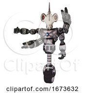 Bot Containing Bird Skull Head And Red Line Eyes And Light Chest Exoshielding And Blue Energy Core And Minigun Back Assembly And Unicycle Wheel Scribble Sketch Arm Out Holding Invisible Object