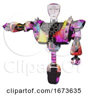 Poster, Art Print Of Cyborg Containing Humanoid Face Mask And Spiral Design And Heavy Upper Chest And Heavy Mech Chest And Shoulder Spikes And Unicycle Wheel Plasma Burst Arm Out Holding Invisible Object