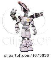 Bot Containing Dual Retro Camera Head And Laser Gun Head And Light Chest Exoshielding And Yellow Star And Minigun Back Assembly And Light Leg Exoshielding And Spike Foot Mod White Halftone Toon