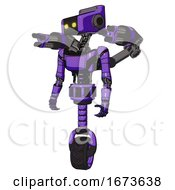 Automaton Containing Dual Retro Camera Head And Retro Tech Device Head And Light Chest Exoshielding And Ultralight Chest Exosuit And Minigun Back Assembly And Unicycle Wheel
