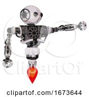 Cyborg Containing Oval Wide Head And Beady Black Eyes And Heavy Upper Chest And No Chest Plating And Jet Propulsion White Halftone Toon Pointing Left Or Pushing A Button