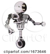 Bot Containing Round Head Chomper Design And Heavy Upper Chest And No Chest Plating And Unicycle Wheel White Halftone Toon Interacting