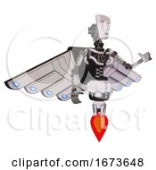 Mech Containing Humanoid Face Mask And Light Chest Exoshielding And Cherub Wings Design And No Chest Plating And Jet Propulsion White Halftone Toon Interacting