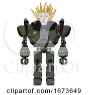 Bot Containing Humanoid Face Mask And Heavy Upper Chest And Chest Energy Gun And Prototype Exoplate Legs Old Corroded Copper Front View