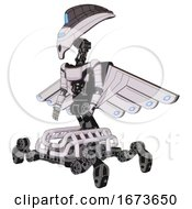 Droid Containing Flat Elongated Skull Head And Visor And Light Chest Exoshielding And Ultralight Chest Exosuit And Cherub Wings Design And Insect Walker Legs White Halftone Toon Facing Right View
