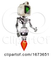 Automaton Containing Old Computer Monitor And Pixel Exclamation Point Alert Face And Retro Futuristic Webcam And Light Chest Exoshielding And No Chest Plating And Jet Propulsion White Halftone Toon