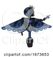 Mech Containing Digital Display Head And Circle Eyes And Eye Lashes Deco And Light Chest Exoshielding And Ultralight Chest Exosuit And Cherub Wings Design And Unicycle Wheel Grunge Dark Blue