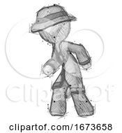 Sketch Detective Man Suspense Action Pose Facing Left