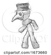 Sketch Plague Doctor Man Suspense Action Pose Facing Left