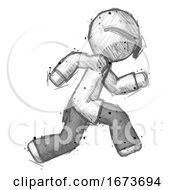Poster, Art Print Of Sketch Doctor Scientist Man Running Fast Right