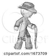 Sketch Detective Man Walking With Hiking Stick
