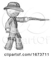 Sketch Detective Man Pointing With Hiking Stick